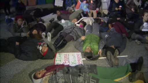 Students from Bryn Mawr and Haverford Colleges stage Die In protest. At Haverford now, will march back to Bryn Mawr