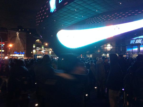 EricGarner protesters infront of Barclays Center before Nets-Cavs and RoyalVisitUSA