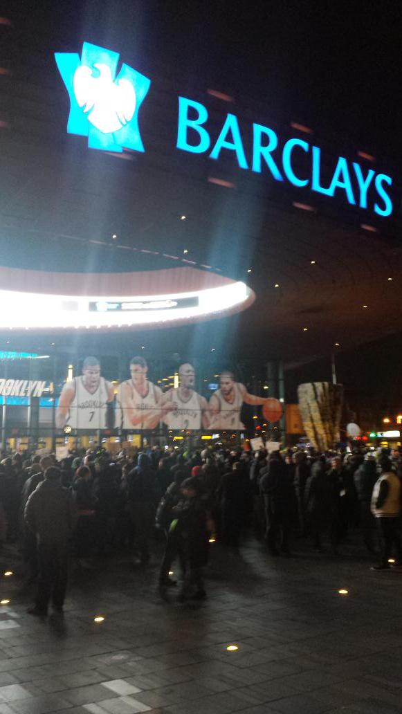 EricGarner royalshutdown protesters right outside front of Barclays Center in Brooklyn.
