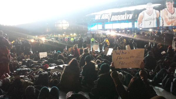 Die-in now happening as part of the royalshutdown EricGarner protest outside Barclays Center.