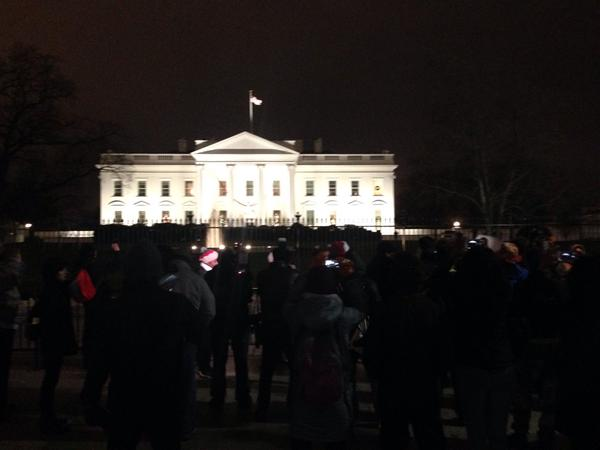 DCProtest now outside White House. Organizer shouting: Mr President, are you home?