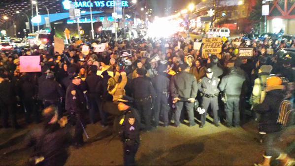 First standoff with NYPD at RoyalShutdown, Atlantic &Flatbush headed North