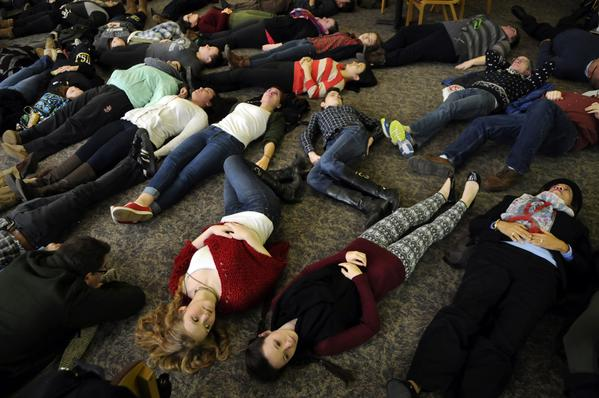 """Students stage """"die-in"""" at University of St. Joseph in West Hartford"""