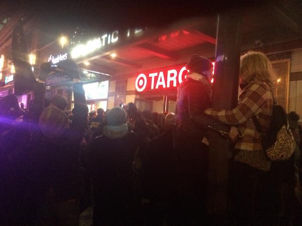 Protestors shutting down Target at Atlantic Terminal
