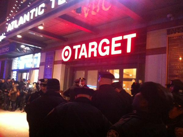 Dozens of NYPD arrest teams lined up outside of Target ShutItDown EricGarner protesters inside