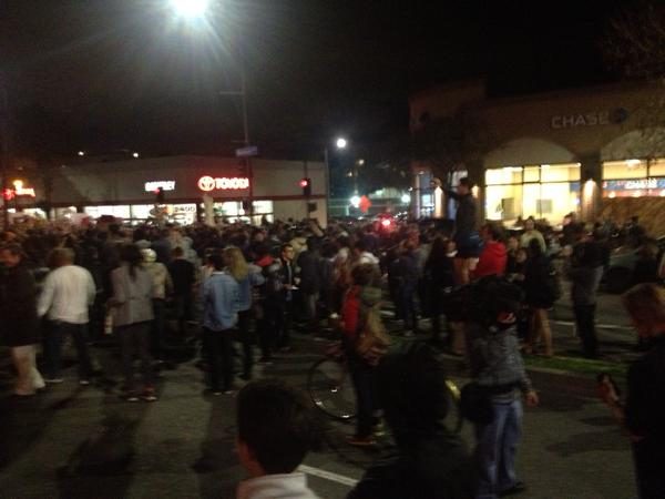 BerkeleyProtests completely shut down Shattuck at Channing to traffic.
