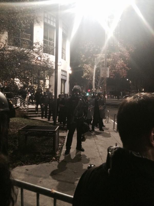 Riot gear, rifles. Still at the intersection  Berkeley, CA