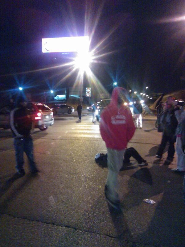 Blocking the street Shaw Ferguson