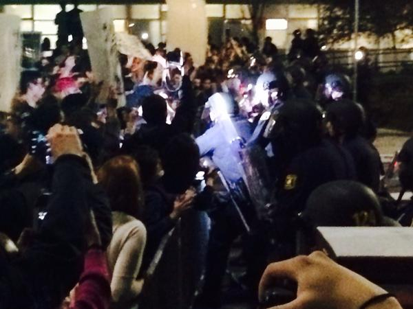 Some police lunge towards protesters twice at front of barricade berkeleyprotests