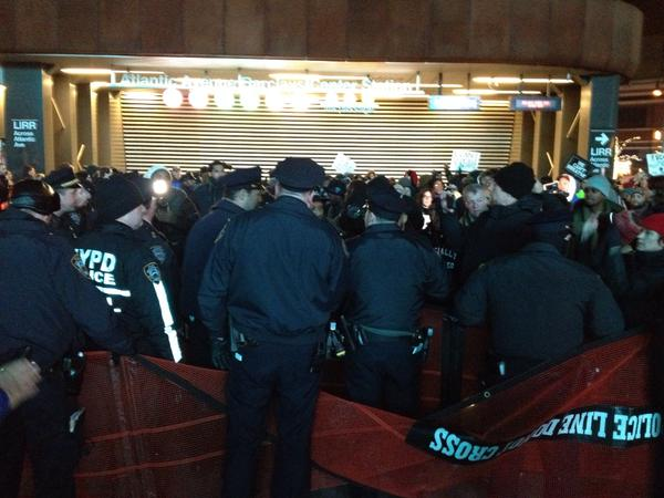 NYPD using nets on NYC ericgarner protesters outside Barclays