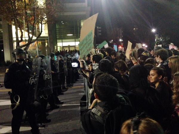 Police barricade in front of police station in Berkeley