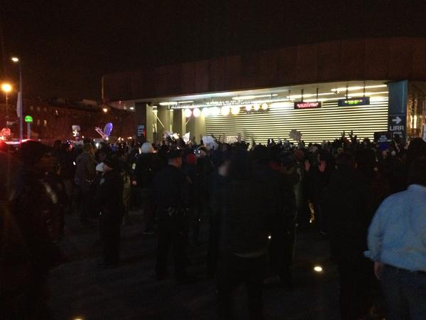 Protesters shut down the main subway entrance outside Barclays
