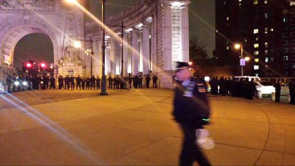 LOTS of NYPD waiting for the march on the Manhattan Side of the Manhattan Bridge.