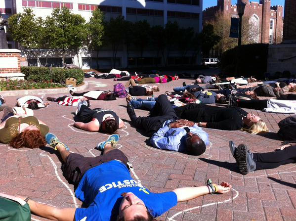 Loyola New Orleans students stage die-in in memory if EricGarner & all victims of police violence BlackLivesMatter