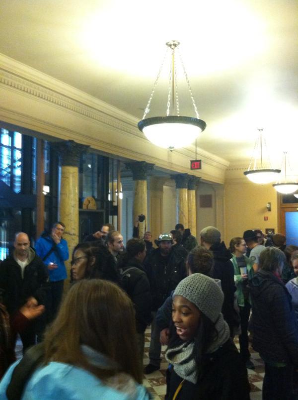 Big crowd inside of City Hall Portland, OR,