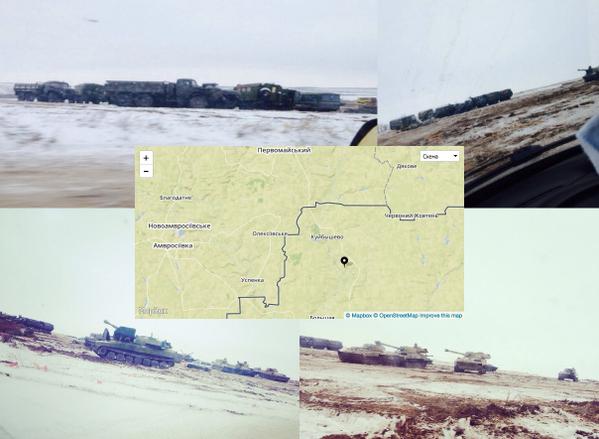 Russian military vehicles near Kuibyshevo, Rostov Region