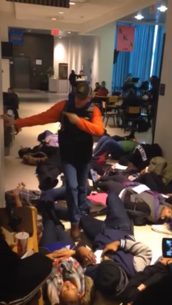 Students at William Paterson University, Wayne, NJ doing a die in were yelled at and stepped on