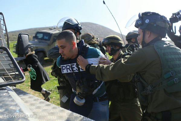 3 arrested & 1 Palestinian journalist detained at a @PSCC_Palestine protest near Adei Ad settlement WestBank