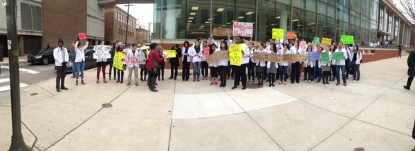 Rally of medical students in Temple University Philadelphia, PA