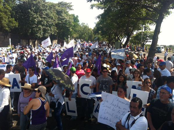 Protesters take to the streets of Managua to protest Nicaragua's proposed canal