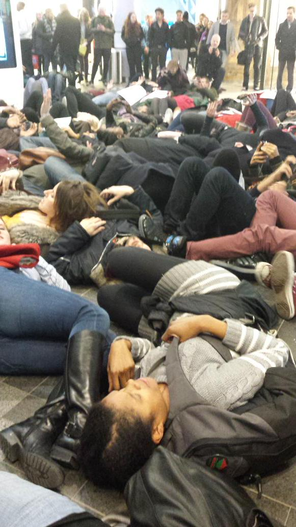 Spectacular mass lie-in now happening at Westfield, London, United Kingdom