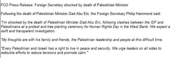 Statement by @PHammondMP on death of Palestinian Minister Ziad abu Ein today in WestBank: FCO