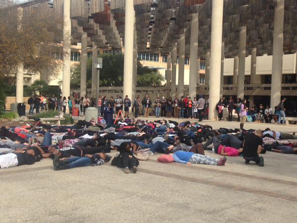 UTSA students protest EricGarner, Ferguson deaths with 'die-in' San Antonio, TX