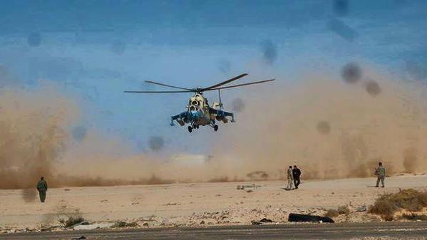 Libya: Helicopter landing in Ras Lanuf, home to Ra's Lanuf Oil Refinery.