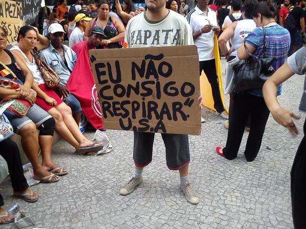 ICantBreathe solidarity in manifestation today in Rio de Janeiro - Brazil