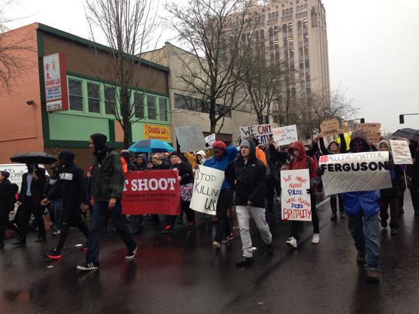 Protesters make their way down State Street on their march to the @OregonCapitol