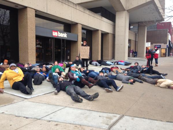 Die-in at 9th and Mass in Lawrence, KS