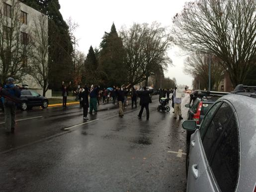 Protesters in  Salem, Oregon  heading to Oregon State Capitol