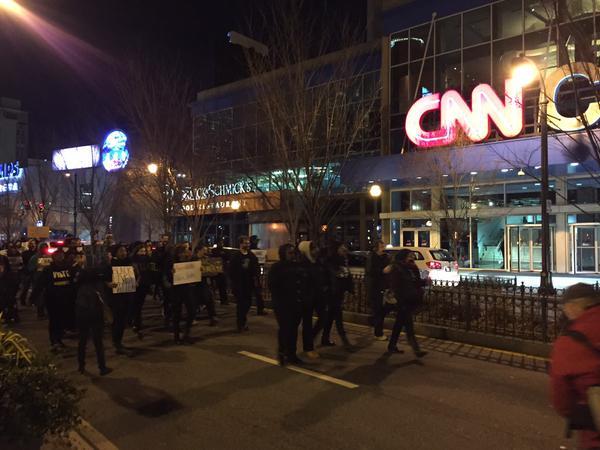 Protesters near @CNNCenter in Atlanta