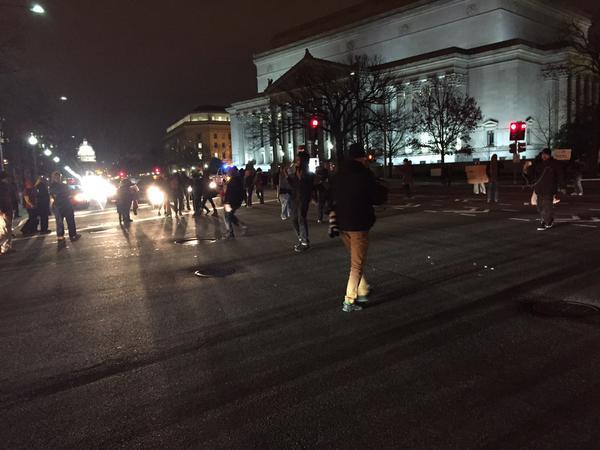 Shutting down Pennsylvania Ave in front of the DOJ. Washington, DC