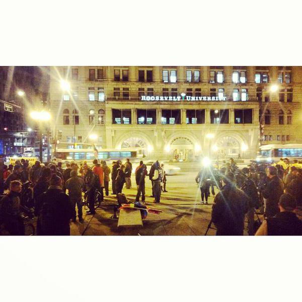 100+ at Congress & Michigan, Chicago, IL for tonights BlackLivesMatter demo