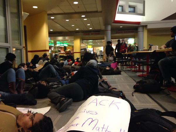Students die-in at Rutgers University.