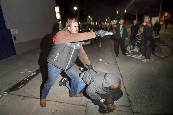 One more under cover policeman last night in Berkeley