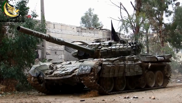 A Syrian rebel T-72 is active in the narrow streets of eastern