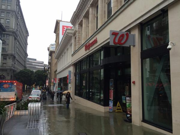 Power out along Powell St. Near Union Sq. Walgreens covering refrigerated items