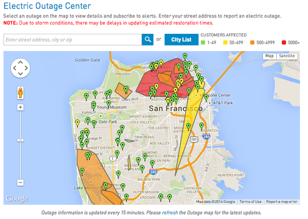 Powerful storm knocks out power in much of downtown San Francisco outage map