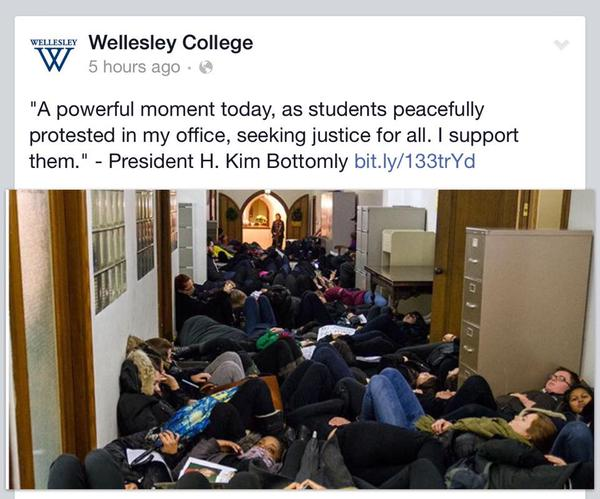 Wellesley College President sends message of support for students who staged die-in outside of his office.