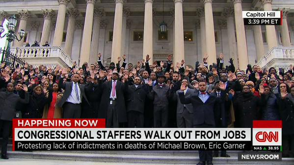 Congressional staffers walk out to protest the grand jury decisions in the death of Michael Brown and Eric Garner CNN coverage
