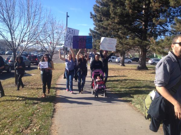 Protest marching from Auraria Campus today in Denver