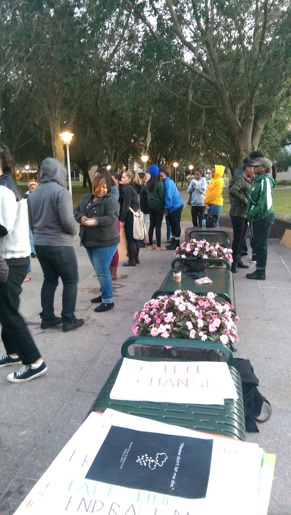 Small crowd at the Die In of University of South Florida, Tampa, FL