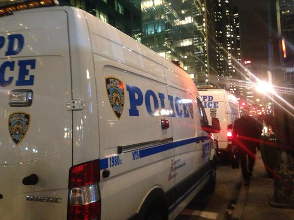 NYPD vans near Bryant Park, New York
