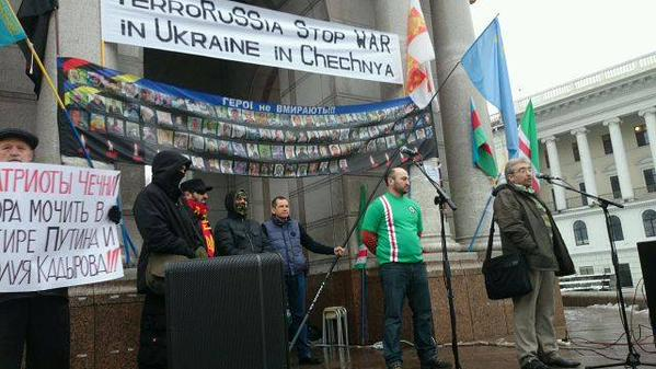 Rally of Chechens today in Kyiv Time to wet out Putin & Kadyrov in closet