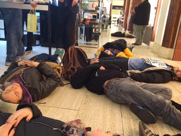 Die in happening now die-in at Saks Fifth Avenue NYC
