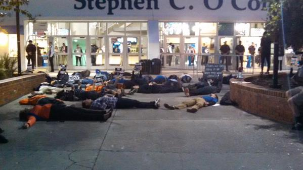 BlackLivesMatter protestors hold diein in front of University of Florida stadium ahead of 7pm basketball game.