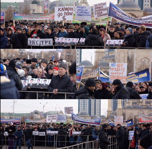 in Johar today thousands of people were forced to rally in support of the Kadyrov regime...