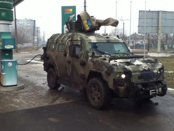 Here is Cougar armored vehicle of AZOV after the fight with the Russian militants